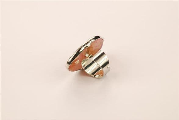 Vained mookaite gemstone ring, silver metal mount. Adjustable size ring.  RS 10040